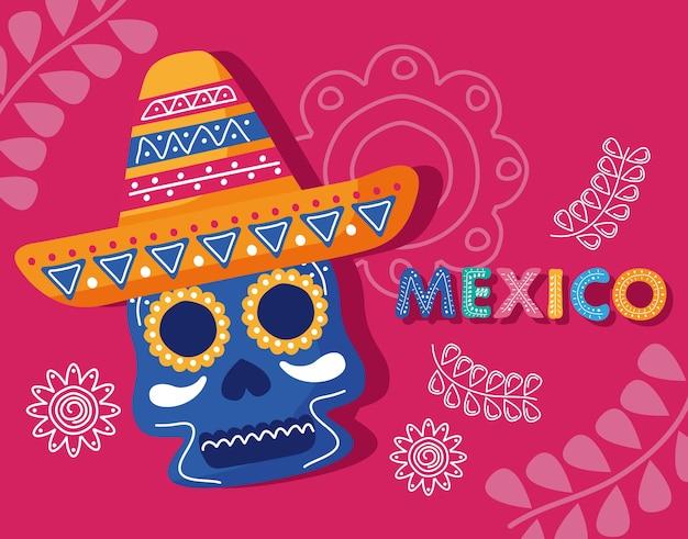 Letras del día de celebración de méxico con cráneo de cabeza con sombrero de mariachi