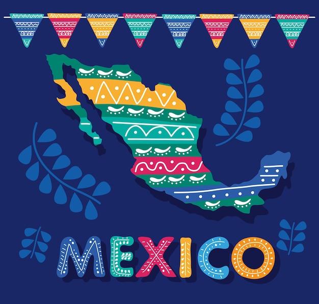 Letras del día de celebración de méxico con mapa mexicano y guirnaldas
