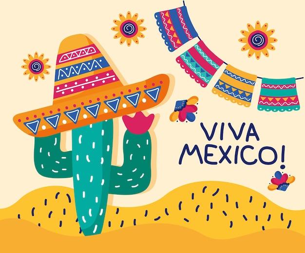 Letras del día de celebración de viva mexico con cactu con sombrero de mariachi