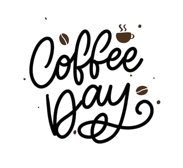 Letras del día internacional del café con granos de café. ilustración