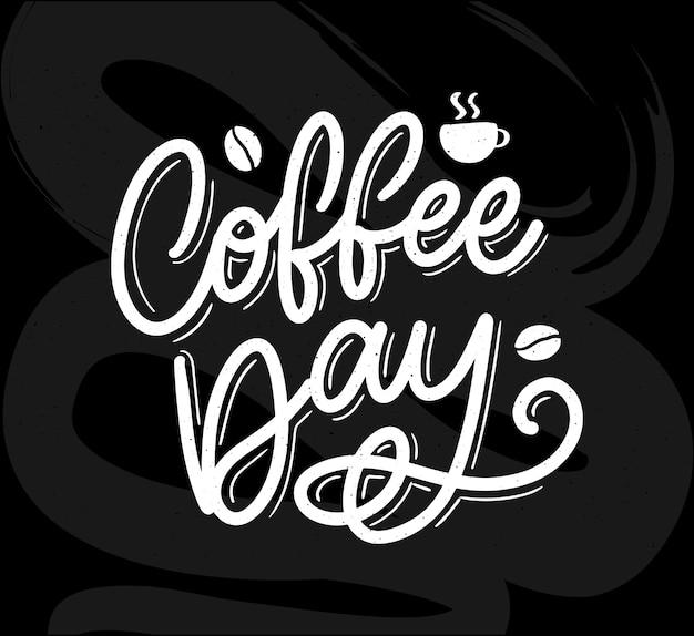 Letras del día internacional del café con granos de café.