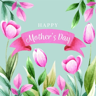 Letras del día de la madre con tulipanes rosados