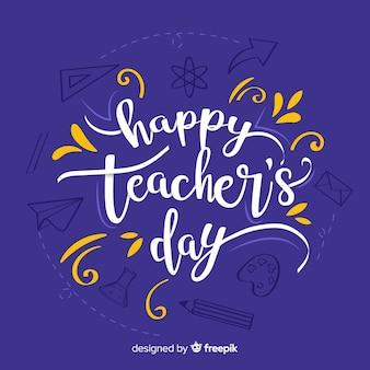 Letras de día de maestros dibujados a mano