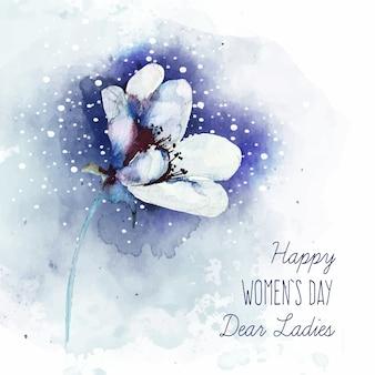 Letras del día de la mujer con hermosa flor de acuarela