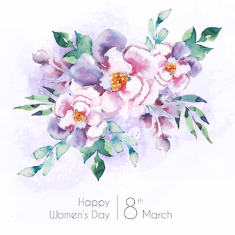 Letras del día de la mujer con hermosas flores de acuarela