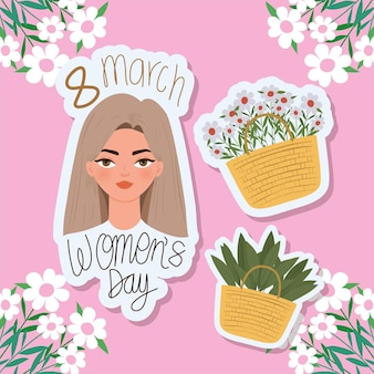 Letras del día de la mujer de marzo, hermosa mujer con cabello castaño claro y cestas con ilustración de flores
