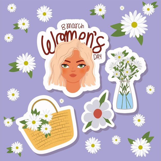 Letras del día de la mujer de marzo, mujer con cabello rubio y canasta con ilustración de flores blancas