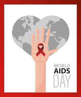 Letras del día mundial del sida con cinta roja levantando mano