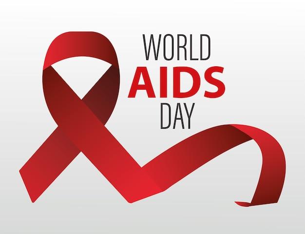 Letras del día mundial del sida con cinta roja