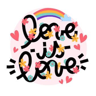 Letras del día del orgullo con arco iris