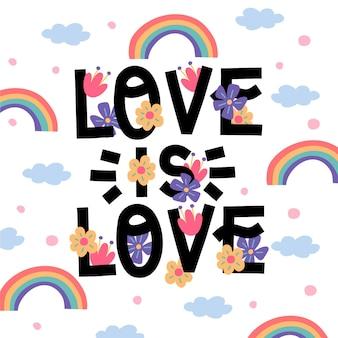 Letras del día del orgullo con arcoiris y flores