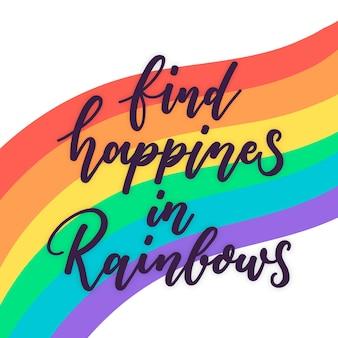 Letras del día del orgullo con colores del arco iris