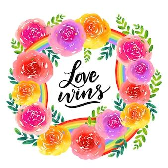Letras del día del orgullo con flores
