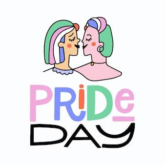 Letras del día del orgullo con fondo de dos mujeres