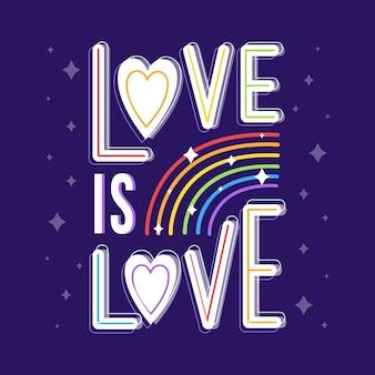 Letras del día del orgullo con papel tapiz brillante del arco iris