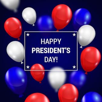 Letras del día del presidente con coloridos globos realistas