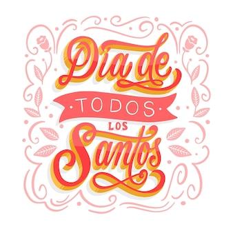 Letras del día de todos los santos con diseño floral