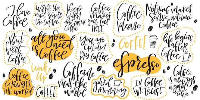 Letras dibujadas a mano conjunto sobre café