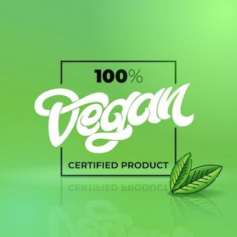 Letras dibujadas a mano 100 producto vegano certificado con marco cuadrado. letras escritas a mano para restaurante, menú de cafetería. elementos para etiquetas, logotipos, insignias, pegatinas o iconos. ilustración.