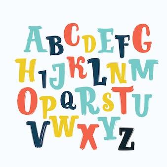 Letras dibujadas a mano. abc, niños, gracioso, niños. , alfabeto.