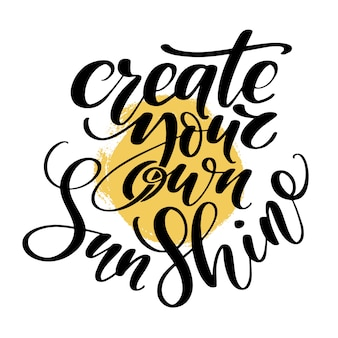 Letras dibujadas a mano. crea tus propias palabras de sol a mano.