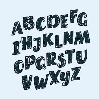 Letras dibujadas a mano, puntuación, números y signos matemáticos, alfabeto, fuente