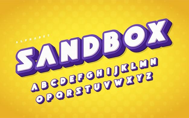 Letras de dibujos animados de alfabeto inglés fresco y divertido.