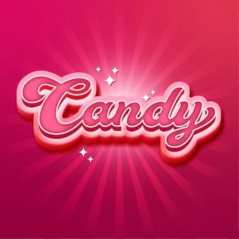Letras de efecto de fuente candy 3d