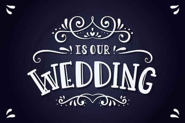 Letras elegantes de boda en pizarra