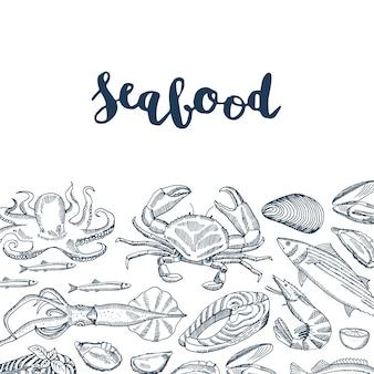 Letras y elementos de mariscos dibujados a mano