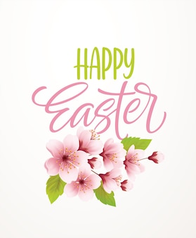 Letras de escritura a mano de pascua feliz sobre fondo con rama floreciente de cerezo de primavera. ilustración de vector eps10