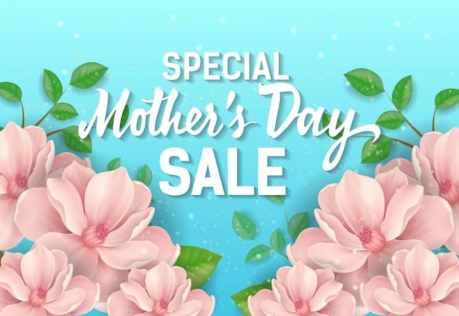 Letras especiales de venta del día de las madres con flores rosadas. publicidad de venta del día de las madres.