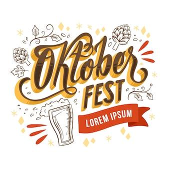 Letras de eventos de oktoberfest dibujados a mano