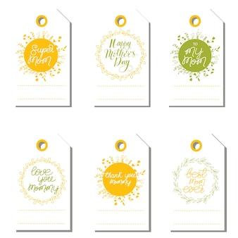 Letras de felicitación establecidas para el día de la madre. ilustración vectorial