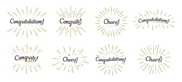 Letras de felicitaciones. etiqueta de felicitaciones, celebración de vítores e insignias de texto de felicitación con ráfaga dorada