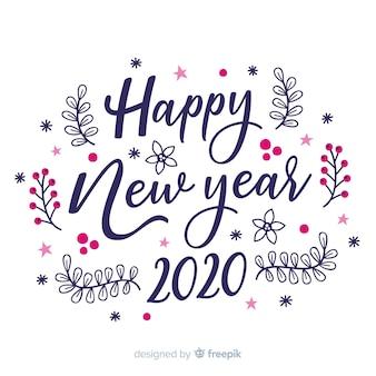 Letras feliz año nuevo 2020 sobre fondo blanco.