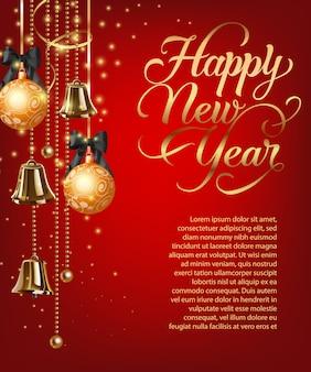 Letras de feliz año nuevo con texto de muestra y adornos