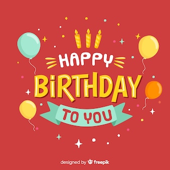Letras de feliz cumpleaños sobre fondo rojo