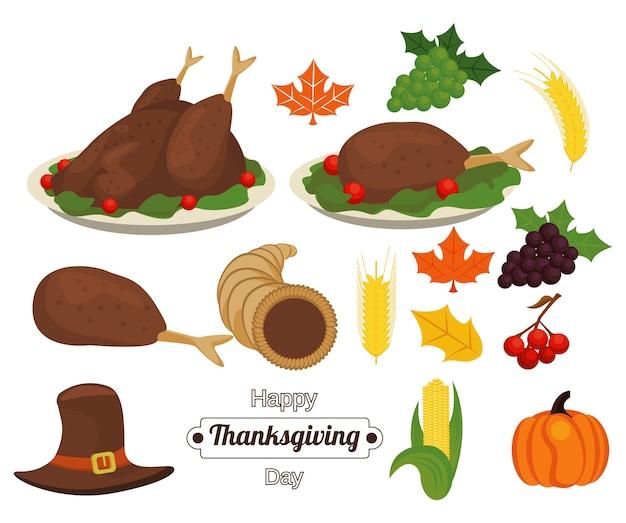 Letras de feliz día de acción de gracias con comida y accesorios.