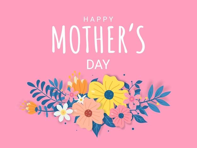Letras de feliz día de la madre en una ilustración de fondo blanco con flores y sombra.