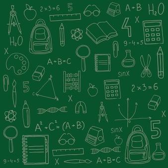 Letras de feliz día del maestro sobre fondo verde con útiles escolares para banner de tarjeta de felicitación