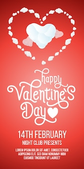 Letras de feliz día de san valentín con corazones y texto de ejemplo