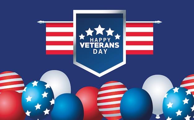 Letras de feliz día de los veteranos con la bandera de estados unidos en escudo y globos de helio