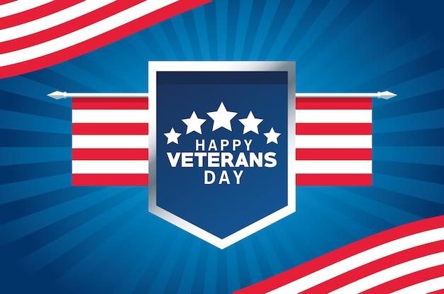 Letras de feliz día de los veteranos con la bandera de estados unidos en escudo