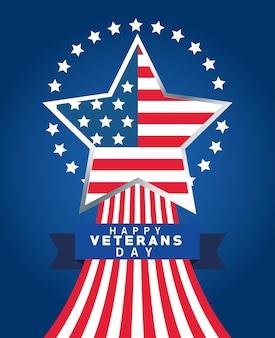 Letras de feliz día de los veteranos con la bandera de estados unidos en marco de estrella y cinta