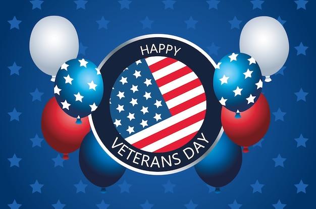 Letras de feliz día de los veteranos en botón con globos de helio