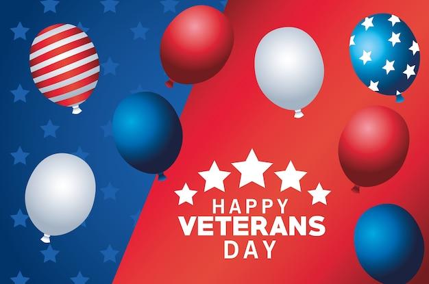 Letras de feliz día de los veteranos con globos de helio