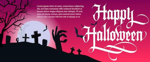Letras de feliz halloween con árbol y cementerio