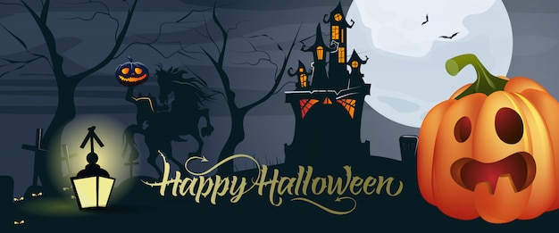Letras de feliz halloween con calabaza, luna y castillo