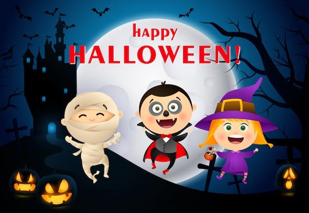Letras de feliz halloween con castillo, luna y niños en disfraces